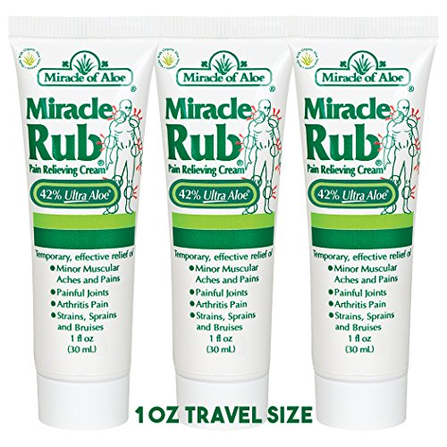 Sore Joint Rub - 3 Pack Miracle Rub Pain Relieving Cream 1 Ounce Tube with 42% UltraAloe