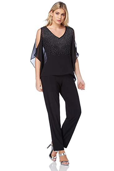 da573e0daf7 Roman Originals Women s Gem Detail Overlay Jumpsuit - Ladies Jumpsuits -  Black - Size 10