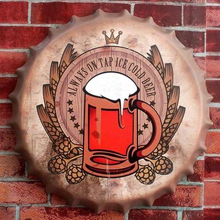 Efecto 3D Cartel de Chapa Cerveza FRÍA Vintage Metal Pintura ...