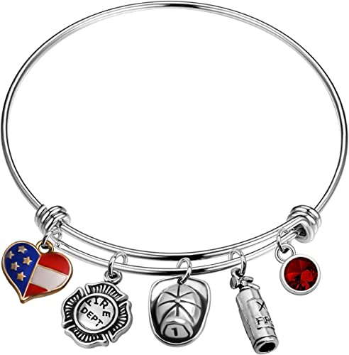 Wife Mom Red Heart I Love You Silver Fire Dept Firefighter Bead Charm Bracelet