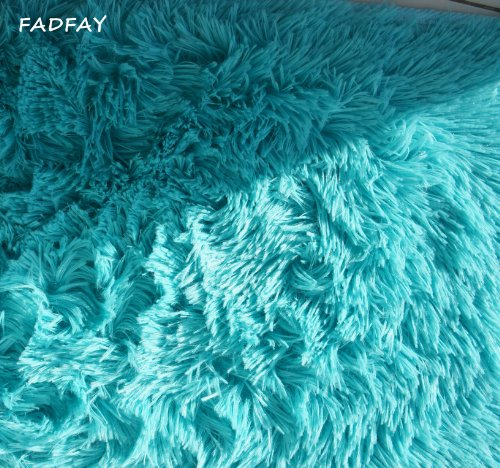 FADFAY Super Soft Modern Shaggy Area Rugs,Turquoise Rug