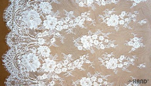 HAND NO.65027 Fine Vintage Cream Wide Corded Lace, 154cmW x 156cmL - per Piece
