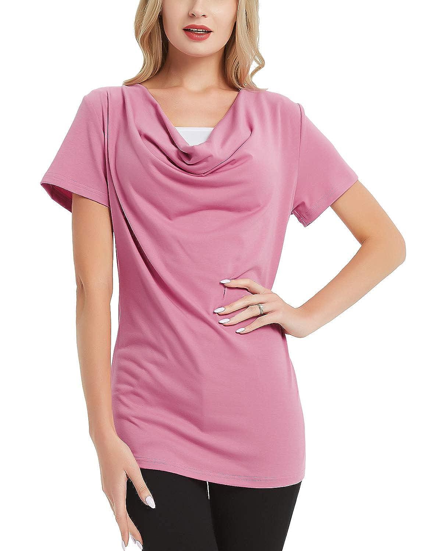 Bhome Nursing Shirt Short Sleeve Cowl Neck Pregnancy Top for Breastfeeding