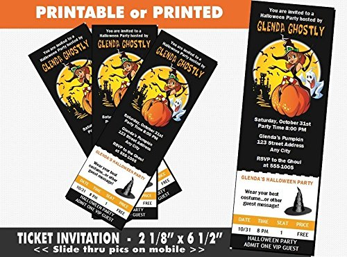 Witch Halloween Party Ticket Invitation, Printable or Printed Option -