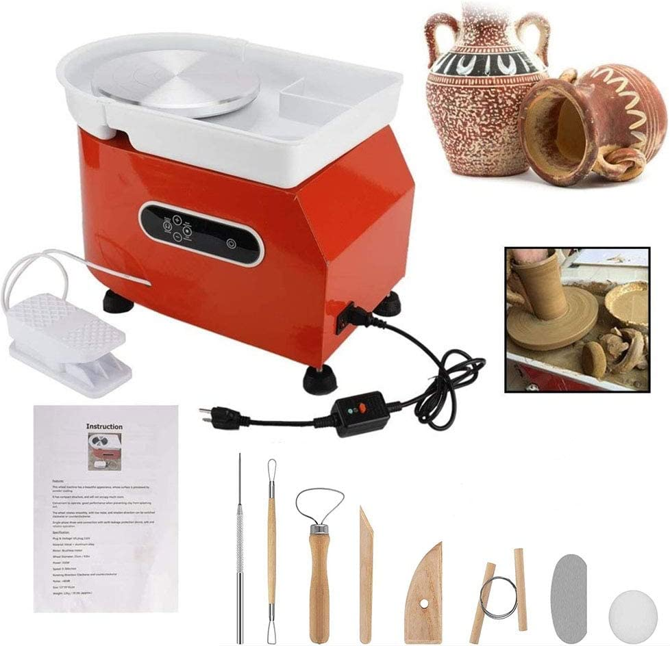 Electric Pottery Wheel Machine Upgrade Version LCD Display 25CM 350W Ceramic Work Clay Forming Machine with Foot Pedal DIY Machine for School Teaching, Children's Ceramic Teaching