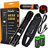 FENIX UC35 USB Rechargeable 960 Lumen Cree XM-L2 U2 multi battery type compatible LED Flashlight with, AOF-S Red color filter, 3200mAh rechargeable battery, USB charging cable and 2 X EdisonBright lithium CR123A back-up batteries bundle