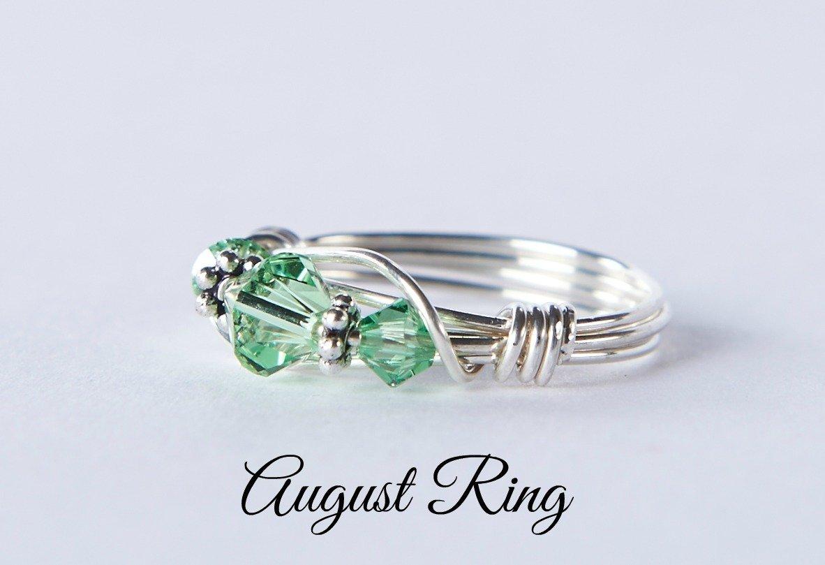 09e7dd9f3 Amazon.com: August Birthstone Ring: Handmade Sterling Silver August  Birthstone Ring made with Peridot Swarovski Crystals. Birthday or Christmas  gift.