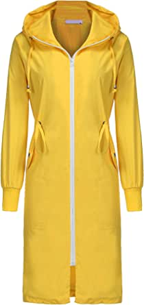 ELESOL Women's Lightweight Waterproof Raincoat Hood Long Outdoor Hiking Rain Jacket
