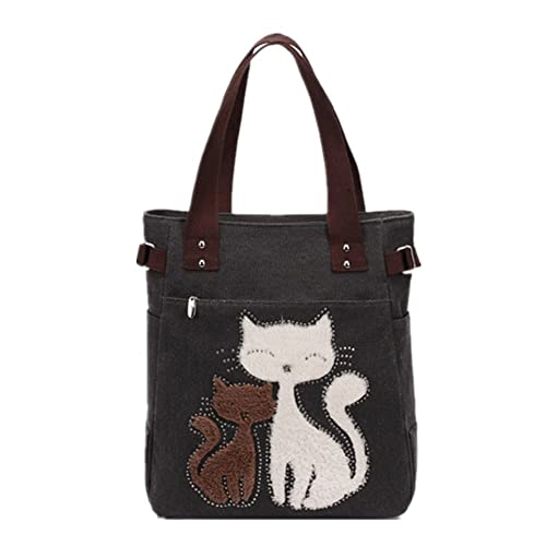 YZSKY Women Canvas Handbag Cartoon Cat Big Tote Bag (Black)