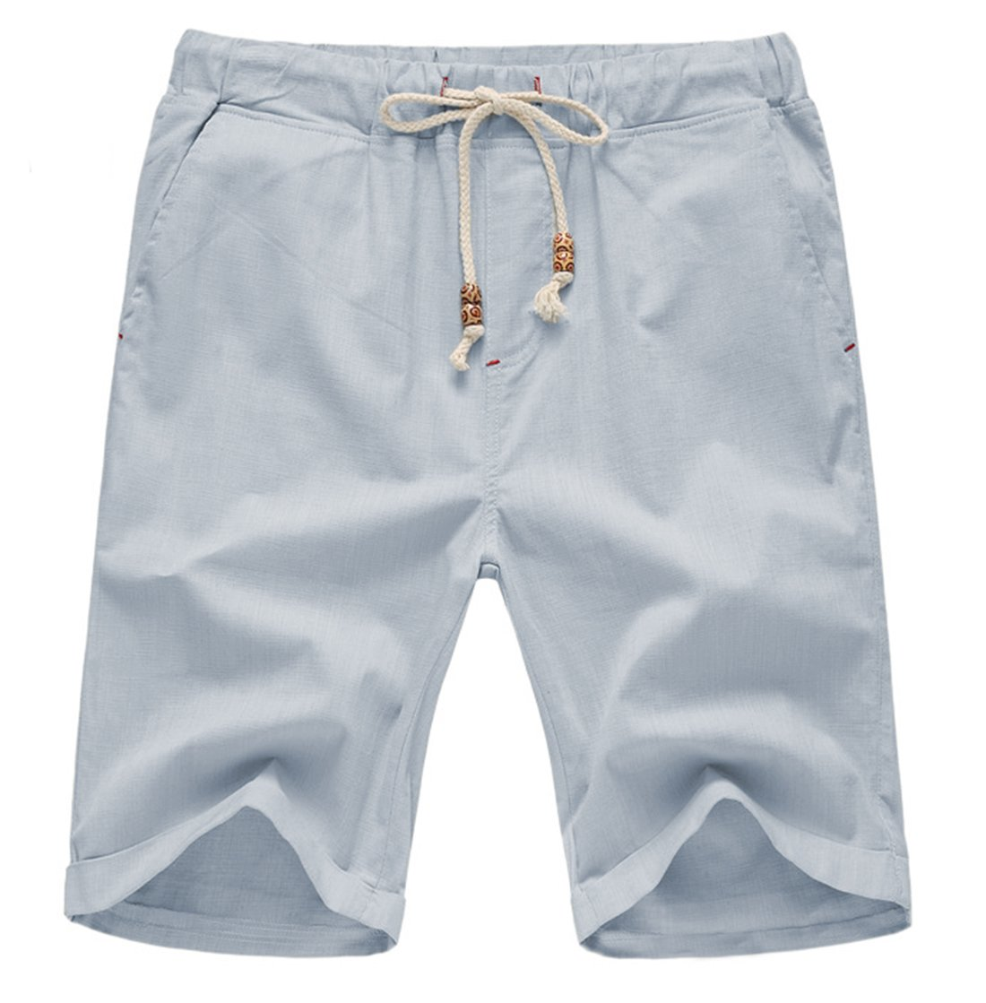 Our Precious Men's Linen and Cotton Casual Classic Fit Short Light Grey L by Our Precious