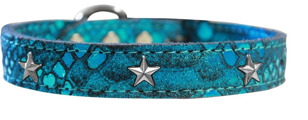 Mirage Pet Products 83-98 BL12 Silver Star Widget Dragon Skin Genuine Leather Dog Collar, Size 12, bluee