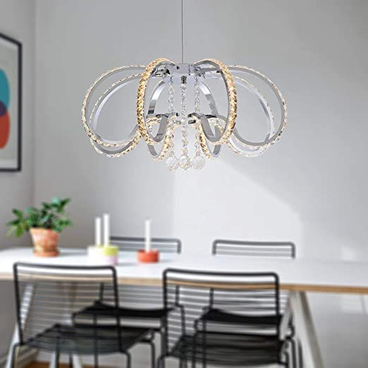 Auffel Led Pendant Light Fixtures,Large Size Modern K9 Crystal Chandelier Ceiling Light Raindrop Flush Mount Fixture,4950 Lm Decor Dimmable Hanging Light For Dining Room,Bedroom,Restaurant,W18.9 H59.1 by Auffel