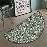 Arabian Half Round door mats for inside Graphic Design of Classic Ancient Eastern Patterns Asian Retro Nostalgic Colors Bath Mat for tub Bathroom Mat Multicolor size:31.5''x19.7''