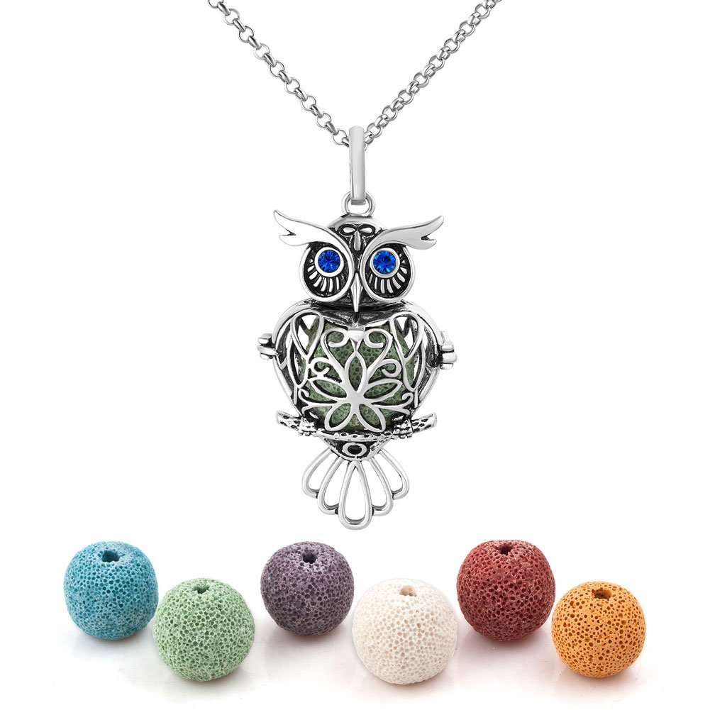 Heart of Charms Owl Lava Stone Aromatherapy Essential Oil Diffuser Necklace Antique Locket Pendant with 32 Snake Chain and 6 Cashmere Sustained Release Ball