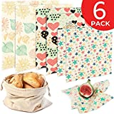 Reusable Beeswax Food Wrap 6 Pack - Plastic Free Alternative to Saran Wrap, Eco Friendly Bees Wax Reusable Wraps, Biodegradable Bowl Covers, Sustainable Sandwich Wrapper - 2 Large, 2 Medium, 2 Small