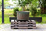 Antique Copper Two Handle Sugar Kettle Deep Basin Copper Verdigris Utility Vessel Planter + Drain Pipe