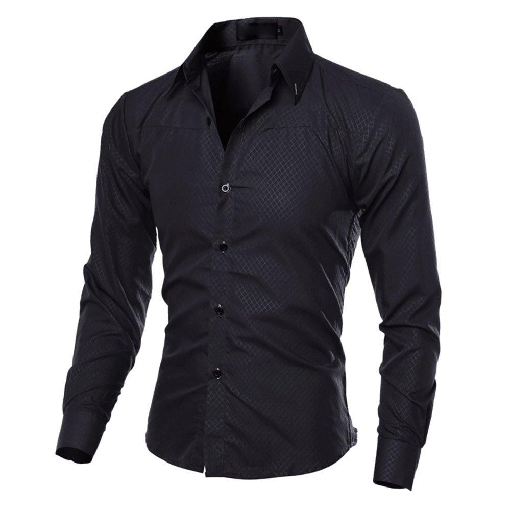 Juleya Camicia Uomo Slim Fit Camicie Formale Manica Lunga Casual Top Tinta Unita Tops Camicia Moderna Morbida e Confortevole P180110CY17-J
