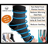 Lumino Cielo All-Day Compression Socks For Plantar Fasciitis Pain Relief & Ankle Support - Sleeve Style (L/Xl, Black)
