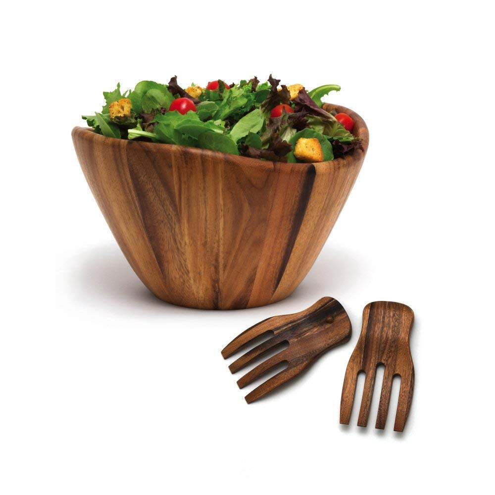 Lipper International Wave Bowl with Salad Hands, Brown (1 Unit)