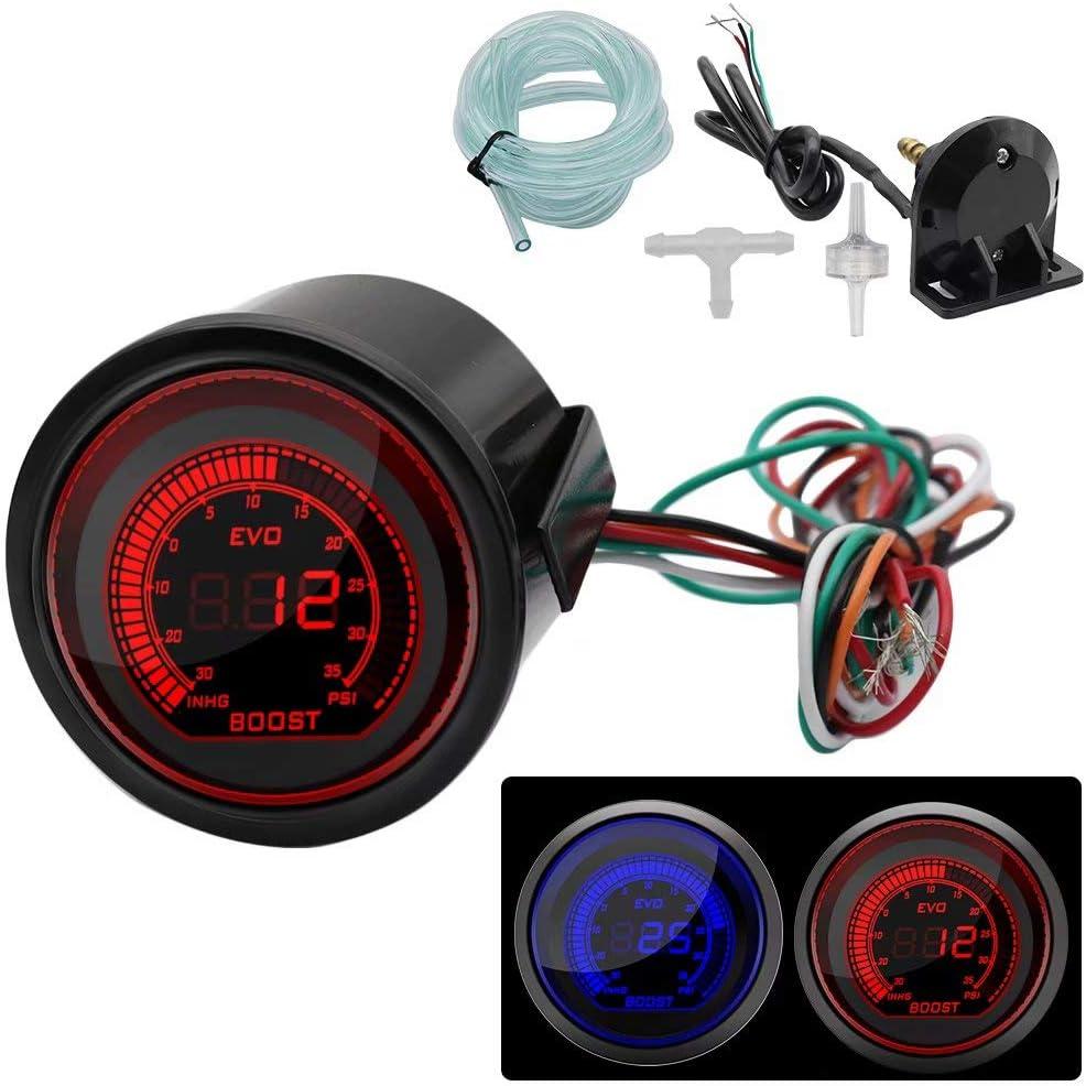 "Jinyi Turbo Boost Press Pressure Vacuum Gauge Metet12V Car Blue Red LED Light Tint Lens LCD Screen for Auto Car 2"" 52mm / 0~30PSI"