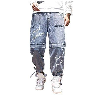 Vectry Pantalones Hombre Casual Moda Patchwork Suelto Elástico ...