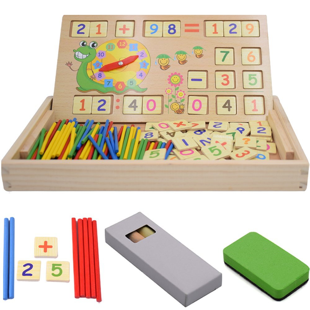 Educational Counting Toys for Kids, Seprovider Colorful Counting Rods w/ Wooden Number Cards, Blackboard, Clock, Eraser, Math Signs, Chalks, Best Preschool Teaching Tool Baby's Math Learning Toy