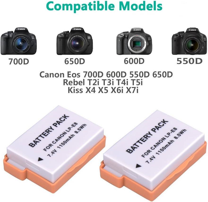 SODIAL (TM) 2 A ¡Î batería de Litio LP-E8 para Canon EOS Rebel 550d, Rebel T2i: Amazon.es: Electrónica
