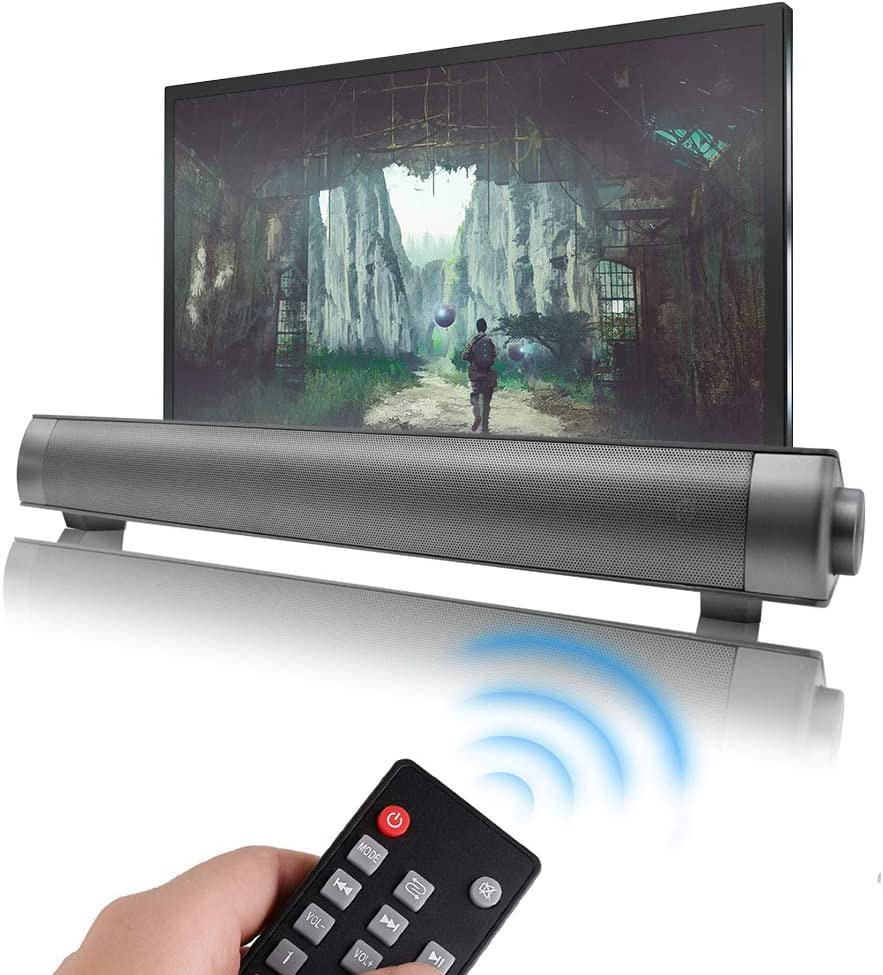 Home Theater Audio Sound Bar, Outdoor/Indoor Wired & Wireless Bluetooth Stereo Speaker with Remote Control, 2 X 5W Mini Sound Bar Built-in Subwoofers for Phones/Tablets/PC/Desktop Projector