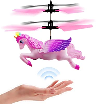 Joddge Flying Unicorn Toys Flying Fairy Aircraft Toy for Girls RC Helicopter with Remote Control Hand Controlled Horse Unicorn Birthday for Little Boys Kids: Toys & Games