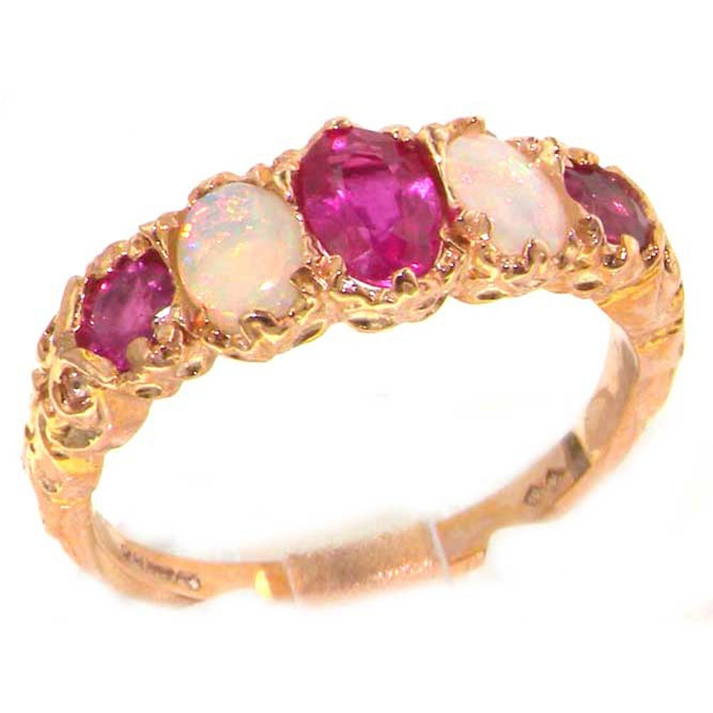 14k Rose Gold Natural Ruby and Opal Womens Band Ring - Sizes 4 to 12 Available