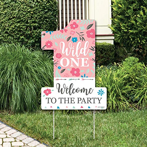 Big Dot of Happiness She's a Wild One - Party Decorations - Boho Floral 1st Birthday Party Welcome Yard Sign]()