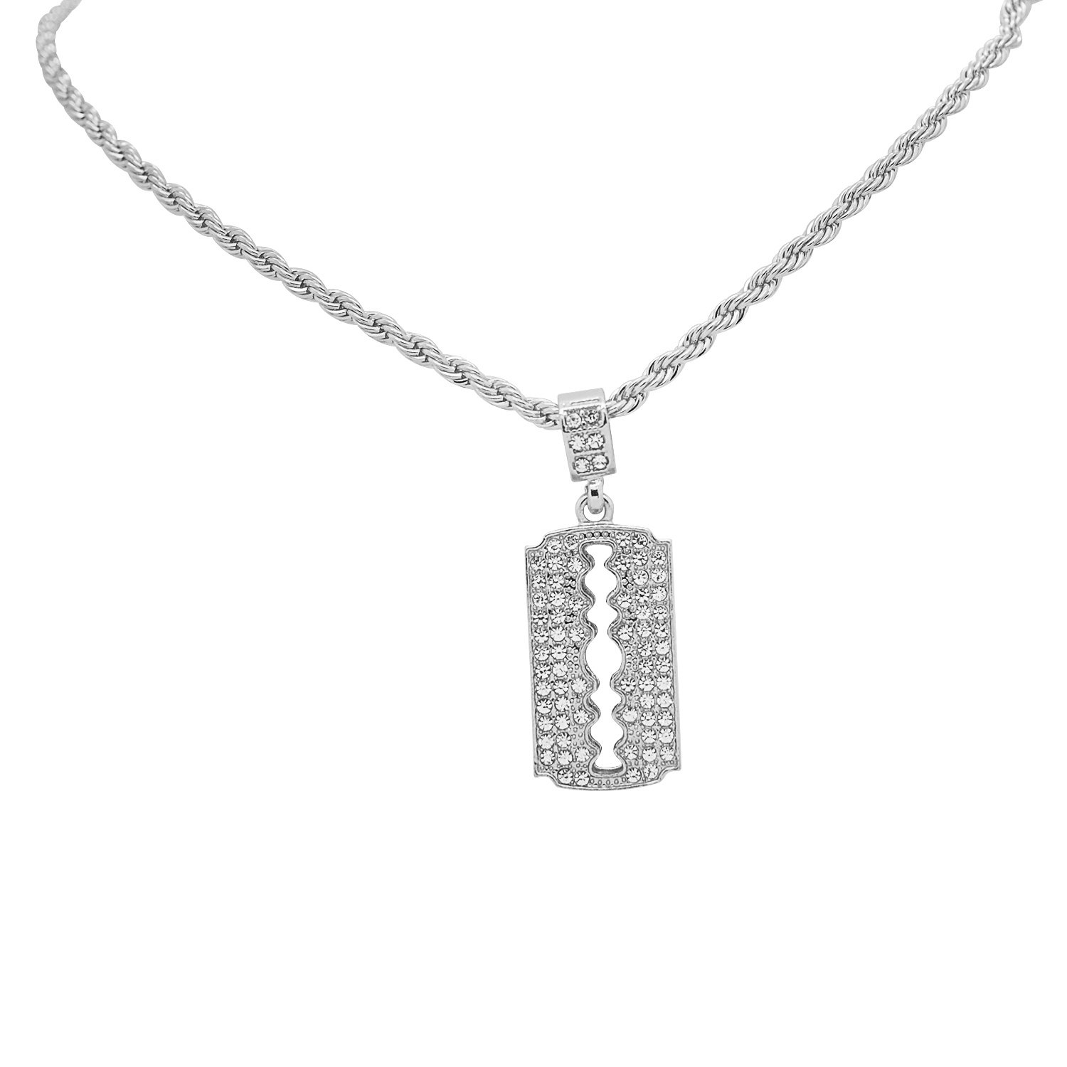White Gold-Tone Hip Hop Bling Simulated Crystal Razor Blade Pendant with 18 Tennis Chain and 24 Rope Chain