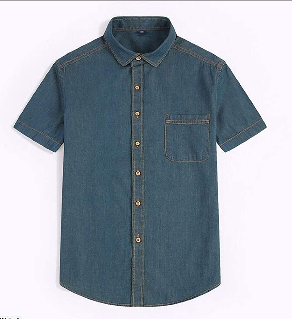 Hajotrawa Men Casual Lapel Jean Denim Short Sleeve Summer Button Front Shirts