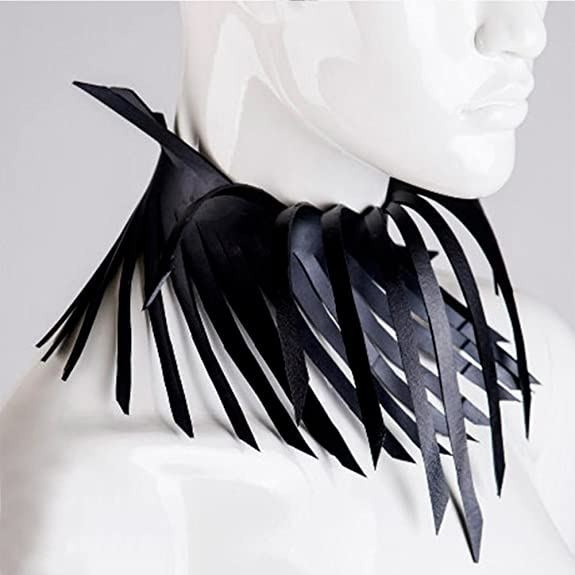 Homelix Three-Dimensional Pattern Leather Handmade Tassel Collar Choker JcS4ZL