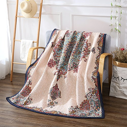 NEWLAKE Quilted Throw Blanket for Bed Couch Sofa, Antique Royal, 60X78 Inch