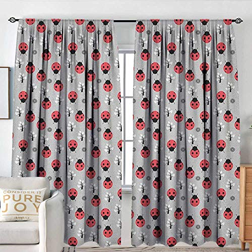 Blackout Valances for Girls Bedroom Ladybugs,Cute Nature with Abstract Insects Trees and Flowers Pattern Cartoon, Grey Dark Coral Black,Rod Pocket Curtains for Big Windows 84