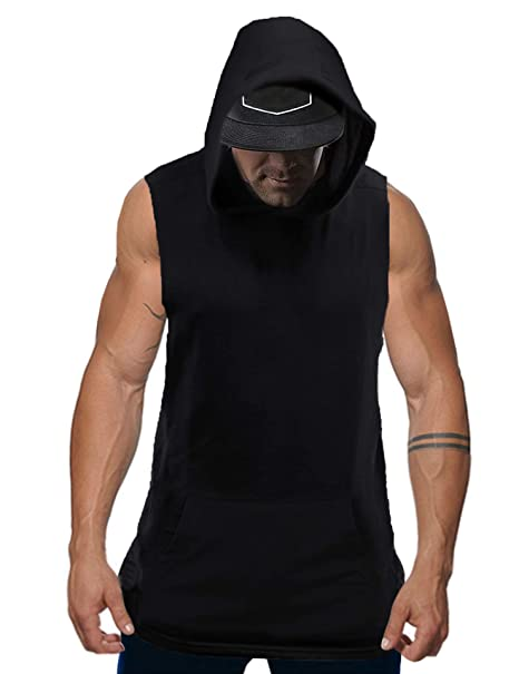 97abbf3d Kuulee Men's Workout Sleeveless Hoodie Gym Tank Tops Bodybuilding Muscle  Activewear Shirt with Pocket Black S