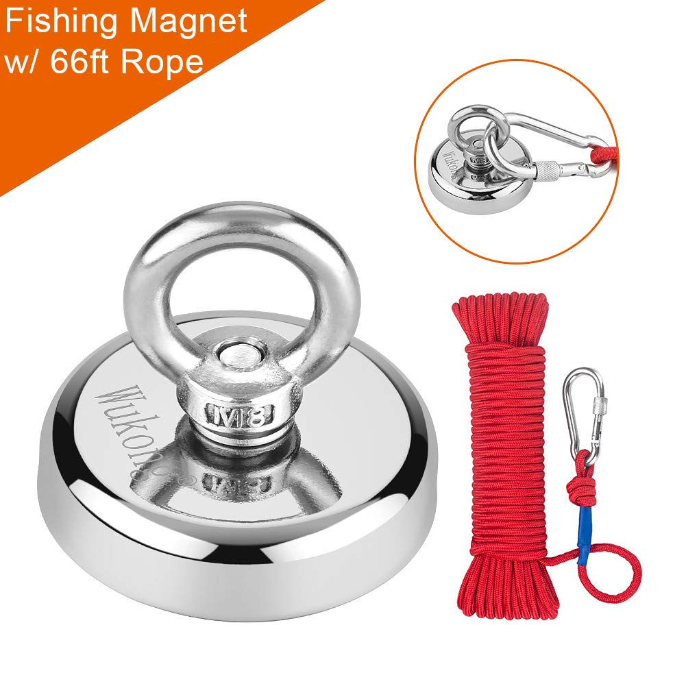 Fishing Magnet with Rope x 66ft, Wukong 290LB(132KG) Pulling Force Super Strong Neodymium Magnet with Heavy Duty Rope & Carabiner for Magnet Fishing and Retrieving in River - 60mm Diameter by WUKONG