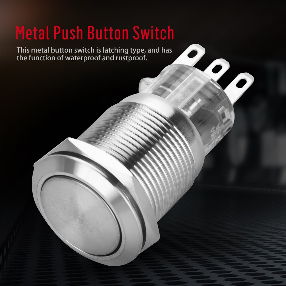 5 interruptores de bot/ón redondos de 3 pines de acero inoxidable 2A//220V 19 mm
