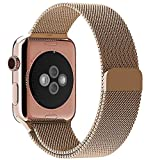 Apple Watch Band, with Unique Magnet Lock, Tagital Milanese Loop Stainless Steel Bracelet Strap Bands for Apple Watch All Models No Buckle Needed (42mm Rose Gold)