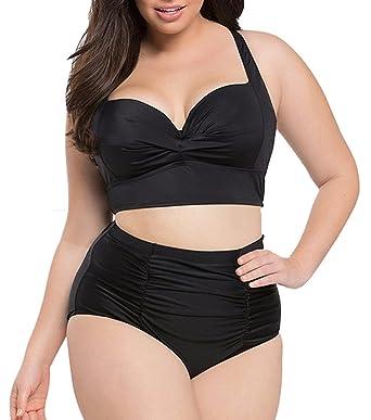 53958b3ceffcc Amazon.com  Haicoo Plus Size High Waist Vintage Retro Bikini Women Push Up  Separate Swimwear  Clothing