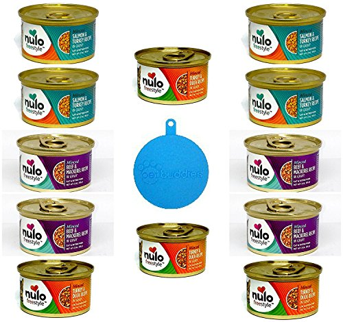 Nulo Freestyle Grain Free Minced Cat Food in Gravy in 3 Flavors – Salmon & Turkey, Beef & Mackerel, & Turkey & Duck – 12 Cans Total, 3 Oz each – Plus 1 Silicone Cat/Dog Food Can Cover – 13 Items Total