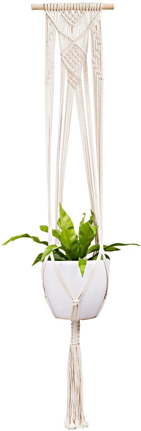 Mkono Macrame Plant Hanger Indoor Wall Hanging Planter Basket Long Flower Pot Holder Boho Home Decor, 46 Inch
