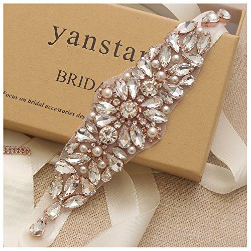 Gold Pearls Ivory Pearls - Yanstar Wedding Bridal Belt Rose Gold Rhinestone Crystal Pearl With Ivory Sash For Bridal Gown Wedding Dress Belt Sash 3In1.8In
