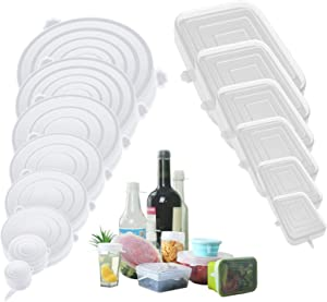14pcs Silicone Stretch Lids,Reusable Square and Round Food Cover (14pcs)