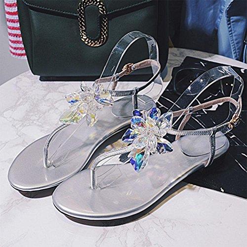 moda de hechos diamantes pie mano las de señoras del lujo de a mujeres imitación zapatos clip confortables de Silver de sandalias de dedo cTgSpnpW