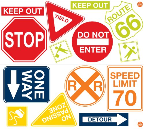 Wall Pops  WPK0617 Road Signs Wall Decals,  17. 25-inch by 39-inch, Two sheets by Wall Pops (Image #3)