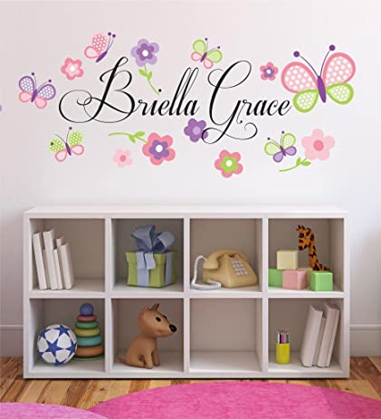Amazoncom Flowers And Butterflies Personalized Custom Name - Custom vinyl wall decals flowers