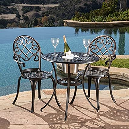 Christopher Knight Home 234795 Angeles Sturdy Construction Cast Aluminum  Outdoor Bistro Furniture Set with Ice Bucket - Amazon.com: Christopher Knight Home 234795 Angeles Sturdy