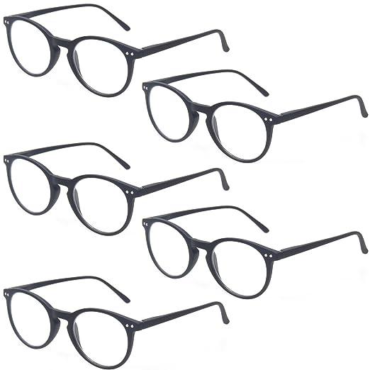 5d72d4b5d53 Reading Glasses 5 Pack Retro Round Frame Readers Comfort Spring Hinge  Glasses (5 Pack Black